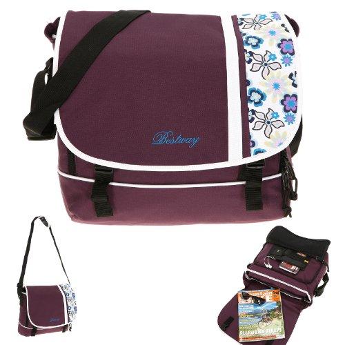 Preisvergleich Produktbild BESTWAY Tasche SIDEWAYS Schultertasche Laptoptasche Kuriertasche Messenger mit LAPTOPFACH 32 x 27 cm / LILA