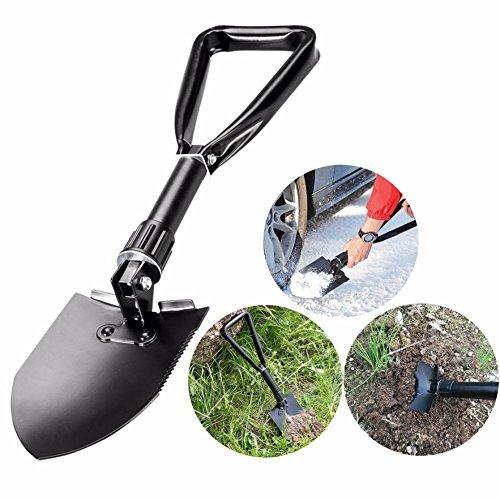 Cisixin Multifonction Militaire Pelle Pioche Pliante en Métal, Mini Survie Outil pour Camping Randonnée Jardin pelle