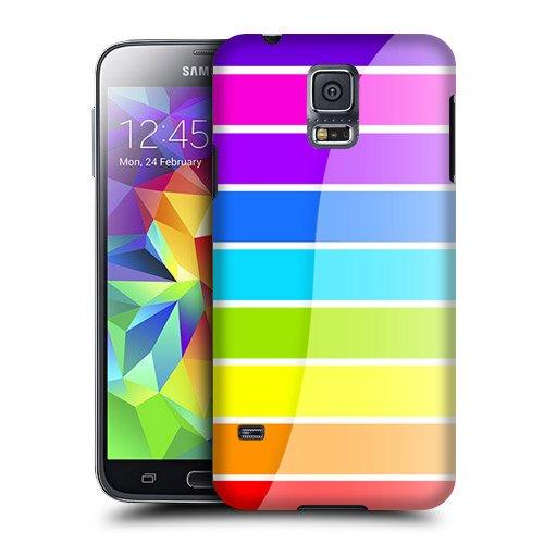 Case Fun Case Fun Rainbow Stripes Snap-on Hard Back Case Cover for Samsung Galaxy S5 Mini (G800F Duos G800H) Samsung Stripe