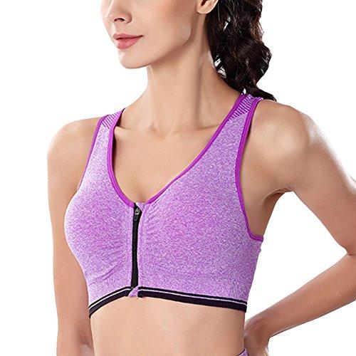 Mujer Sujetador Deportivo Sin Costuras Yoga Almohadillas Extraíbles Comodidad Frontal Cremallera Gimnasio Ropa Púrpura 2XL
