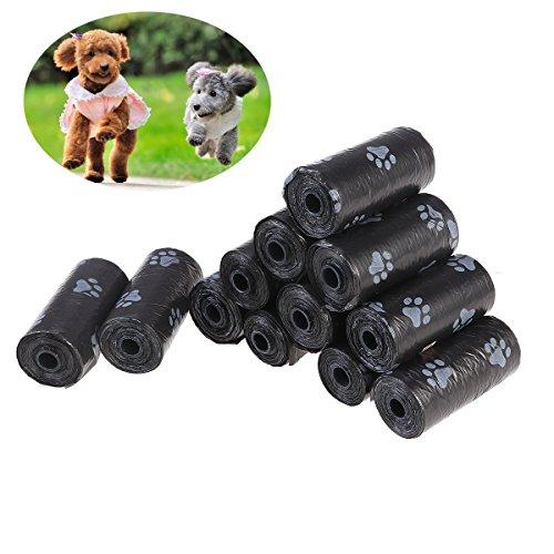 UEETEK 12 rotoli pet rifiuti borse di cacca di cane sacchetti biodegradabili le impronte delle zampe dei sacchi profumato cane nero