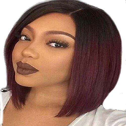DRESS_start Damen Kurze Gerade Farbverlauf Frisur Synthetische Haar Volle PerüCke Haar Extension 34cm