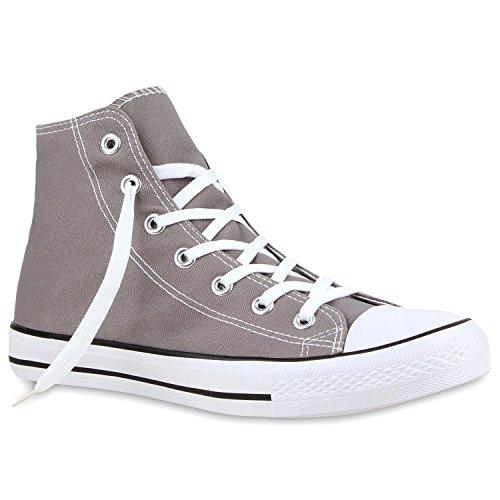 Stiefelparadies Sportliche Damen SneakersStoff Camouflage Schnürer Sneaker High Neon Sport Schuhe 130754 Grau Weiss Schwarz 37 Flandell