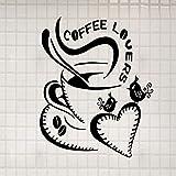 jecswolz Herz Kaffeetasse Große LiebeEntfernbare Wandaufkleberfür Mode Wohnzimmer Kindergarten Kinder Küche Vinyl Aufkleber Wandbilder57 * 61 cm
