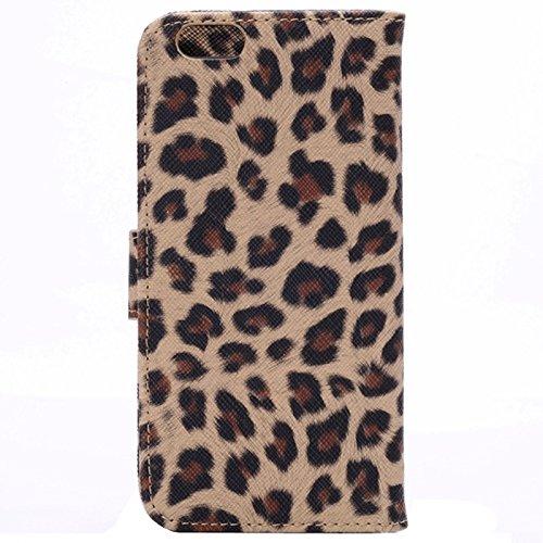 Etui en cuir Flip Case imprimé léopard avec embouts et support pour iPhone 6 et 6S YAN ( Color : Grey ) Brown