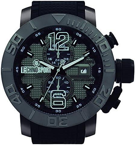 technosport ts-230–8hommes bande noire, façade en acier inoxydable 48mm cas Mouvement Japon avec mm Chronographe Montre