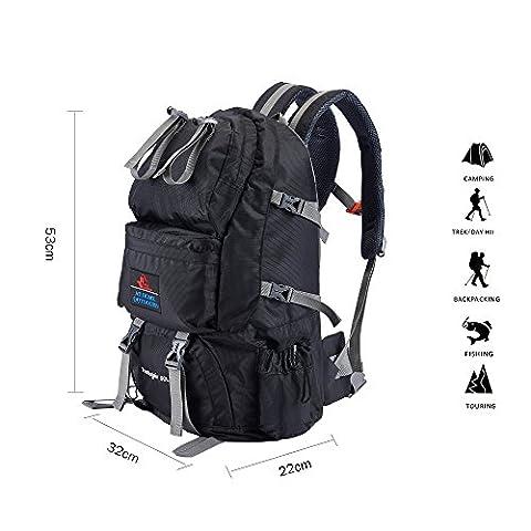 Babimax 50L Sac à dos Imperméable pour Camping Randonnée Extérieure Sport Voyage Escalade Unisexe (Noir)