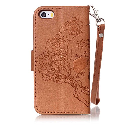Custodia Libro per iPhone 5S,BtDuck Ultra Sottile PU Pelle Borsa e Portafoglio Tasca Campanula Modello Libro Stand Case Cover Morbido Silicon Gel Back Case Bumper Cover Custodia in Premium Flip Cover  #C Marrone