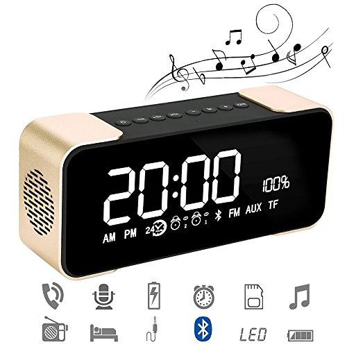 Reloj Alarma Digital Regulable Con Radio FM Estéreo Y Sonido HD Con Altavoces Bluetooth 4.2 Wireless Stereo Altavoz Mic para iPad iPhone Móviles Android