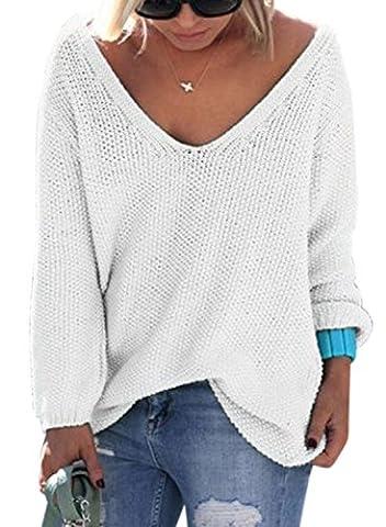 Nlife Frauen Strickte V-Ausschnitt Langarm Pullover Bluse Tops, Gr. XL, Farbe: White