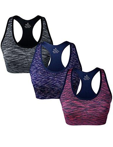 Match Damen Draht nahtlose doppellagige gepolsterte Racerback Sport-BH fuer Yoga Workout Gym #004 1 Paket von 3(Schwarz-Blau-Pflaume)