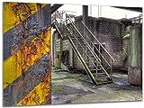 Rost - Wandbild Stahlwerk Maxhütte, exklusiver Druck auf Leinwand, Alu-Dibond oder Acrylglas inkl. kostenloser Wandhalterung - Moderne Wandbilder Bilder Glas Bild Kunst Fotografie Kunstdruck Deko für Wohnzimmer, Schlafzimmer und Büro