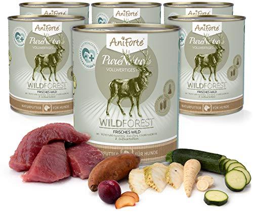 AniForte Natürliches Nassfutter für Hunde - WildForest Frisches Wild, Wildfleisch Futter hoher Fleisch-Anteil, Hundefutter für alle Hunderassen, getreidefrei, Ohne künstliche Zusätze - 6 x 800g
