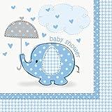 Unique Party 41692 Umbrellaphants Baby Shower 3-Ply Napkin, Blue