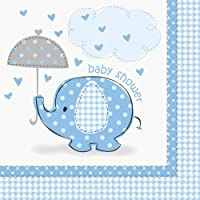 Unique Party 41692 Umbrellaphants Baby Shower 3-Ply Napkin, Blue