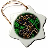 3dRose orn_23192_1 Gecko Tribal Abstract Reptile Digital Art Snowflake Ornament, Porcelain, 3-Inch