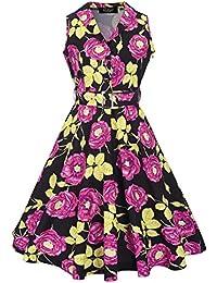Feoya Vestido de Solapa Estilo Retro Vintage de los Años 50 sin Mangas Pin UP Estampado de Flores para Mujer