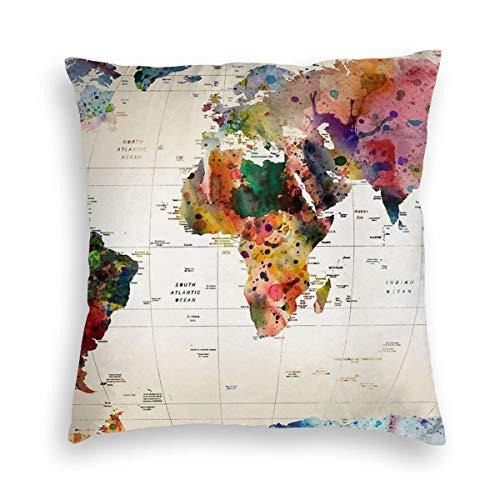 Funda de cojín de Terciopelo de 45,7 x 45,7 cm, diseño de Mapa del Mundo, para Coche, decoración...