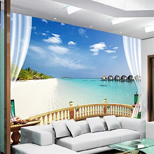Xbwy Wandbild Tapete 3D Beach Seaview Wandmalerei Wohnzimmer Sofa Schlafzimmer Fototapete Home Decor 3D Wandbilder-280X200Cm