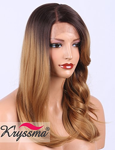 Brown Ombre Blonde Lace Front Wig with Wavy Bangs, Right Deep Part Synthetic Wigs for Women Glueless Natueal Straight Wig with Dark Brown Roots 18inches ()