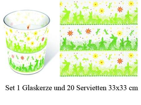 20 Servietten + Kerze Hasenwiese Ostern Osterfest Osterhase Ostereier