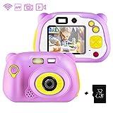 shumeifang Macchina Fotografica per Bambini con 32GB Carta TF Inclusa, Bambini Fotocamera Digitale Portatile Mini Recorder DV Videocamera per Bambine 2 Pollici LCD - Rosa