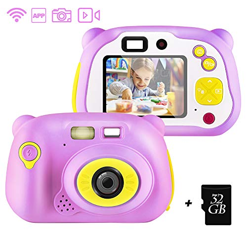 shumeifang Kinderkamera mit kostenloser 32GB TF-Karte,wiederaufladbare Selfie Kamera für Kinder, Kinder Digital-Camcorder mit 2,0 Zoll Bildschirm, stoßfeste Kamera mit Silikonhülle - Pink