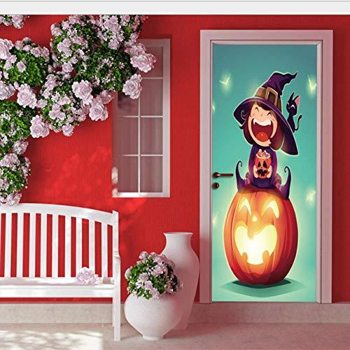 DSAOMO Türtapete Türposter Türbilder Selbstklebend Türtapete Selbstklebend 3D Halloween für Schlafzimmer Wohnzimmer Türaufkleber Aufkleber 77 x 200cm (B x H)