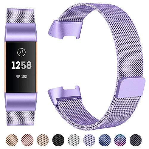 cinturino per fitbit charge 3, lusso chiusura magnetica milanese loop in acciaio inox braccialetto di ricambio cinturino per fitbit charge 3 & charge 3 se