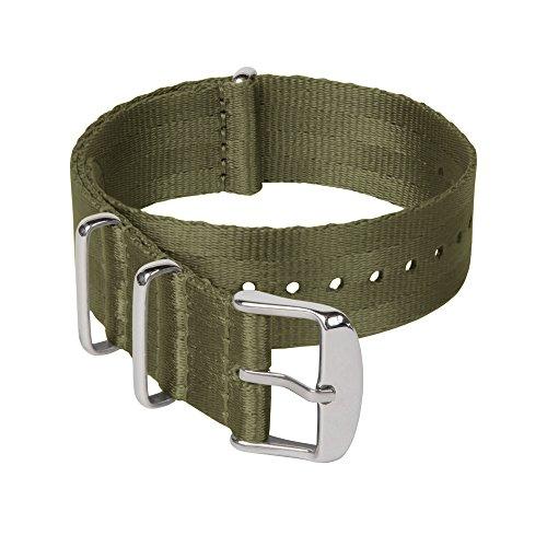 Archer Watch Straps Sicherheitsgurt Stil Gewebtes Nylon NATO Uhrenarmband - Olivgrün/Edelstahl Hardware, 20mm