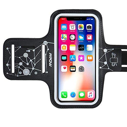 【Edición de seguridad】Mpow Brazalete Deportivo Para Correr Fitness Con soporte para llaves, Brazalete Móvil con Patrón de Cielo Luminoso para iPhoneX 8 7 6 6s Samsung Galaxy S9 S8 S7 S6 ,HTC,LG hasta 5.3 pulgadas(negro+)