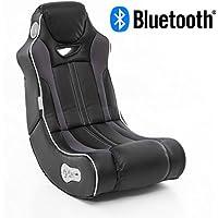Wohnling Soundchair Cheater in Schwarz mit Bluetooth   Musiksessel mit eingebauten Lautsprechern   Multimediasessel für Gamer   2.1 Soundsystem - Subwoofer   Music Gaming Sessel Rocker Chair