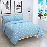 Reliable Trends Twill Cotton Queen Size Quilt Cover/Dohar 90x100 Inches (Blue Floral)