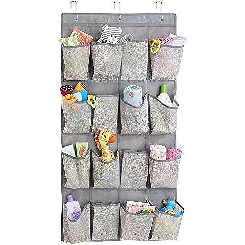 mDesign elegante organizer armadio – pratico portaoggetti pensile in tessuto – è il perfetto portatutto da appendere, ideale per gli oggetti del bambino – 16 tasche – colore taupe/naturale