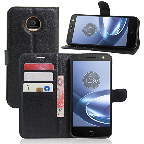 Excelsior Premium Leather Wallet Flip Cover Case For Motorola Moto Z Play (Inner TPU) - Black