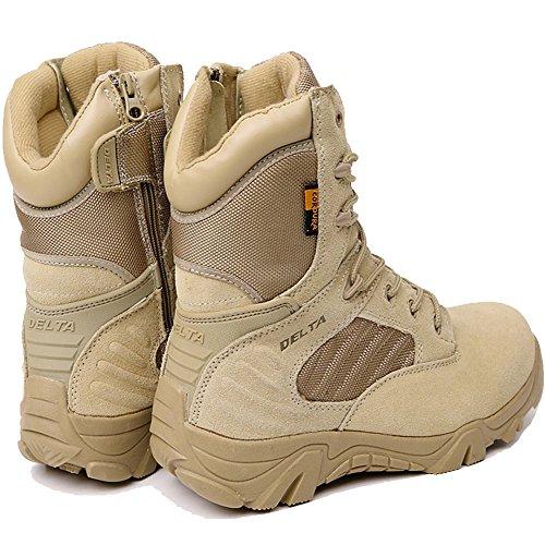 LiliChan Männer Taktische Stiefel Delta Side Reißverschluss Military Work 8 Zoll Armee Schuhe Bräune
