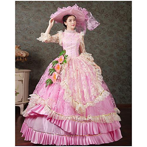 QAQBDBCKL 17. Jahrhundert Gericht Kleid Halloween Makeup Party Cosplay Kostüm Rosa Abendkleid Kleid (Und Kleider Make-up Halloween)