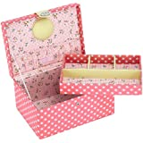 BUTTON IT Honey Pot Medium Coral Pink Polka Dot Sewing Box with Floral Lining