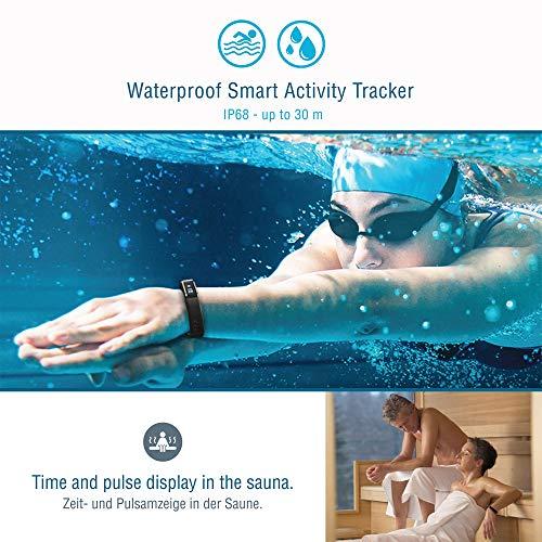 Sharon Fitnessarmband Herzfrequenzmesser Pulsuhr Aktivitäts-, Schlaf- und Fitness Tracker | instant Herzfrequenzmessung, Schrittzähler, Uhrzeitanzeige, Weckfunktion | 30 Tage Akkulaufzeit | saunafest, wasserdicht (IP68) |App für Android und iOS | integriert Apple Health,Google Fit | Anruf/SMS-Benachrichtigung | Apple iPhone 7 und 8, Samsung S7 und S8, Huawei, LG, Sony - 6