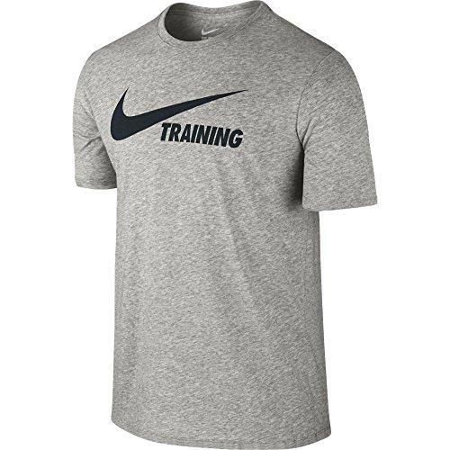 Nike Herren Training Swoosh Kurzarm T-Shirt, Dark Grey Heather/Black, S