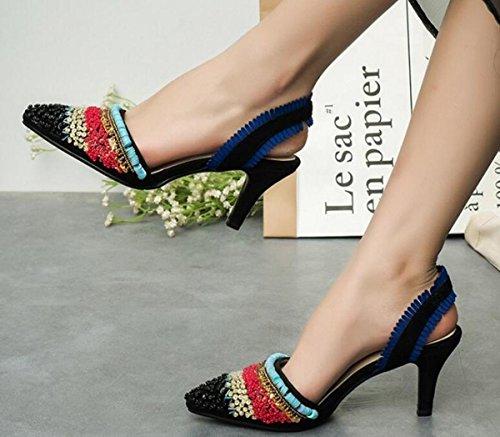 Beauqueen OL pompe stile nazionale di nozze splendida decorazione in rilievo Slingbacks metà tacco tallone Outsoles antiscivolo donne casual scarpe comode UE taglia 33-40 Black