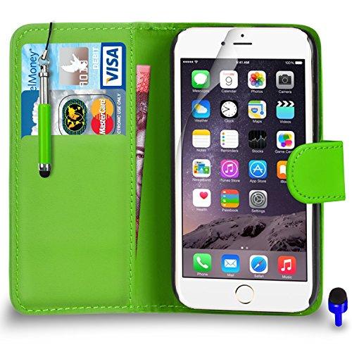 """Apple iPhone 6 Plus (5.5 """"pouces) Premium Leather Wallet bleu flip écran Housse Pouch + rétractable tactile Stylet + Protecteur & Chiffon PAR SHUKAN®, (BLEU) Vert"""
