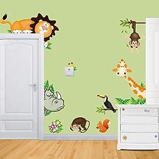 Jungle Waldtier Affe, Giraffe und Löwe Schaukel Spiel auf bunten blättern Baum Wandaufkleber Wandtattoo Wandsticker Kinderzimmer