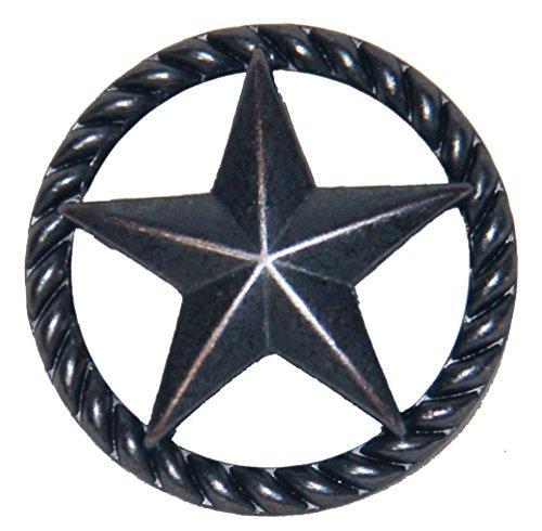 Set von 24dünn Seil und Star Schublade zieht Möbelknopf Western Southwest Decor Texas, Oil-Rubbed Brass, 1 1/2 Inches