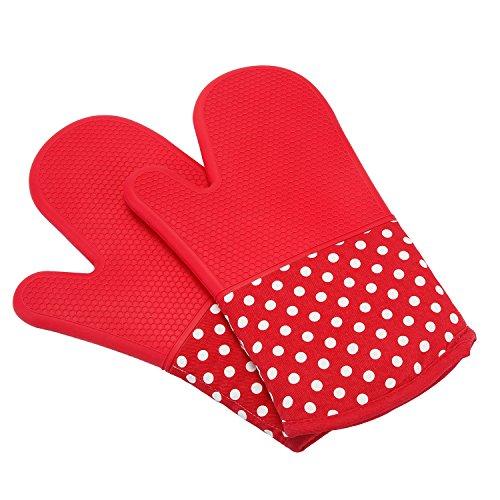 UBEST Spezialität Ofenhandschuhe, 300 Celsius Silikon und Baumwolle Backhandschuhe, Topfhandschuhe, verdicken Grillhandschuhe, 1 paar, rot