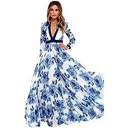 Vestidos De Fiesta Mujer Largos Elegantes LHWY, Vestidos Formales De Estampado Flor Azul Marino Vestidos Vintage De Cuello En V Profundo Manga Larga (XL)