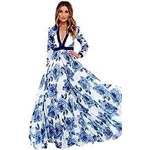 Vestidos De Fiesta Mujer Largos Elegantes LHWY, Vestidos Formales De Estampado Flor Azul Marino Vestidos