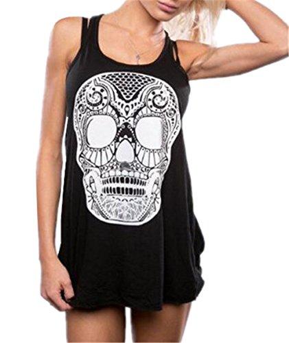 Gogofuture Femme Été Vest Top sans Manches Doux Débardeur Skull Imprimées T-Shirt Blouses Longue Gilet Confortable Black