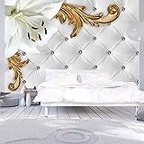 murando - Fototapete 350x256 cm - Vlies Tapete - Moderne Wanddeko - Design Tapete - Wandtapete - Wand Dekoration - Blumen Lilien Ornament weiß Steppmuster f-C-0112-a-a
