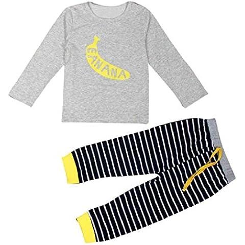 Koly 1 Conjunto para bebé muchachas de los bebés del plátano camiseta de la impresión de las tapas + Pantalones Conjuntos de ropa (80)